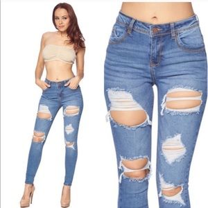 Denim - NWT Distressed denim jeans high waist